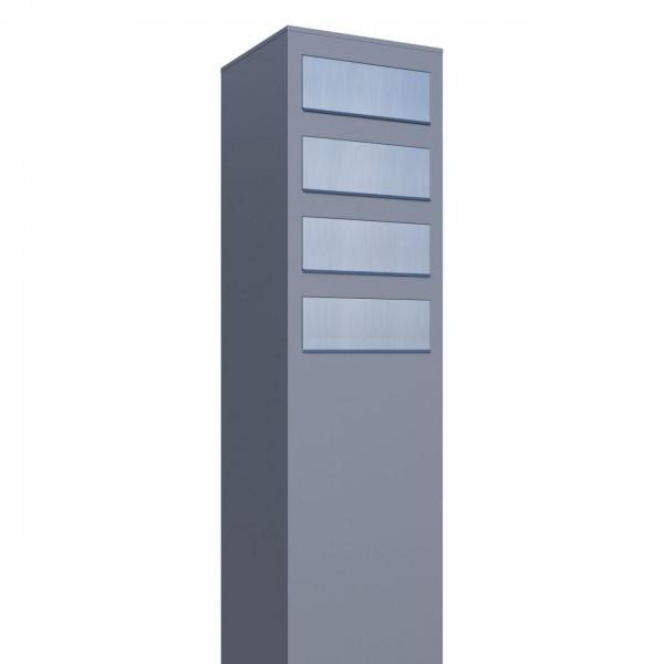 Boîtes aux lettres Monolith pour quatre Grise avec rabat en acier inoxydable