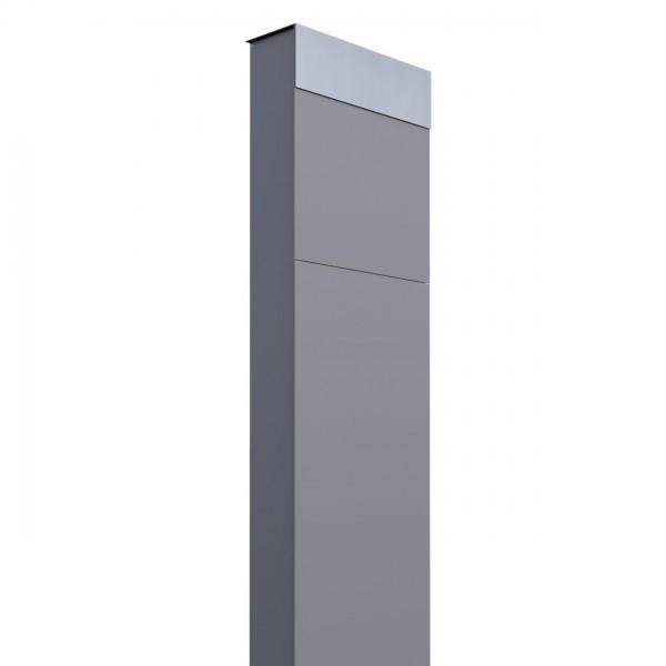 Boîte aux lettres sur pieds The Box Grise avec rabat en acier inoxydable