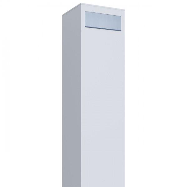 Boîte aux lettres sur pieds Monolith Blanche avec rabat en acier inoxydable