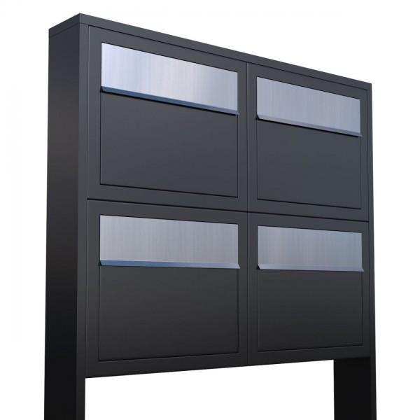 Boîtes aux lettres Elegance pour Quatre Noire avec rabat en acier inoxydable