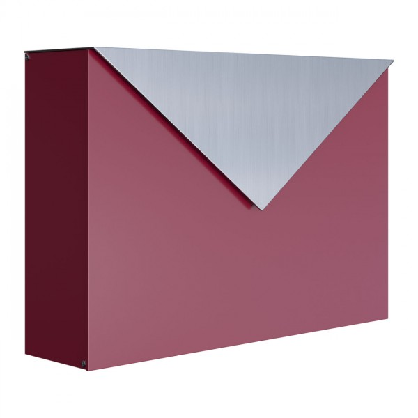 """Boite aux Lettres """"The Letter"""" Rouge avec rabat en acier inoxydable"""