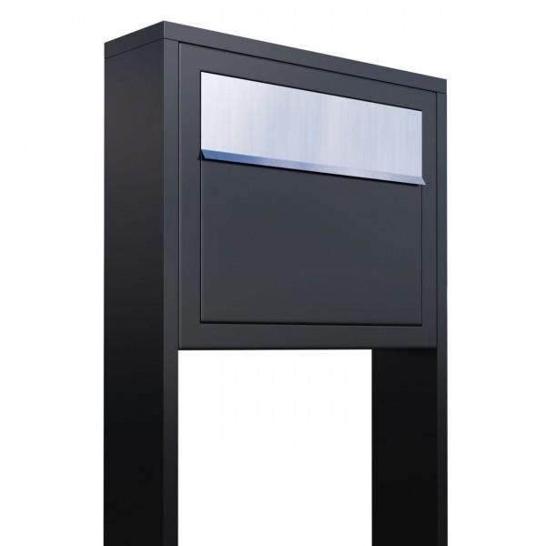 Boîte aux lettres sur pieds Elegance Noire avec rabat en acier inoxydable