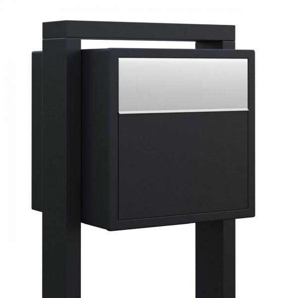 Boîte aux lettres sur pieds Soprano Noire avec rabat en acier inoxydable